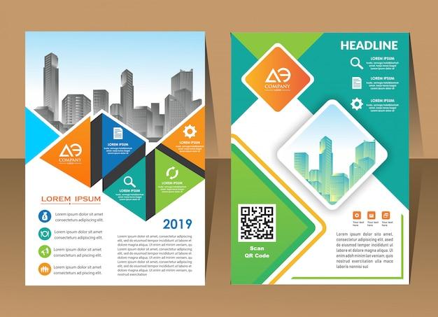 Modelo de design de capa relatório anual moderno