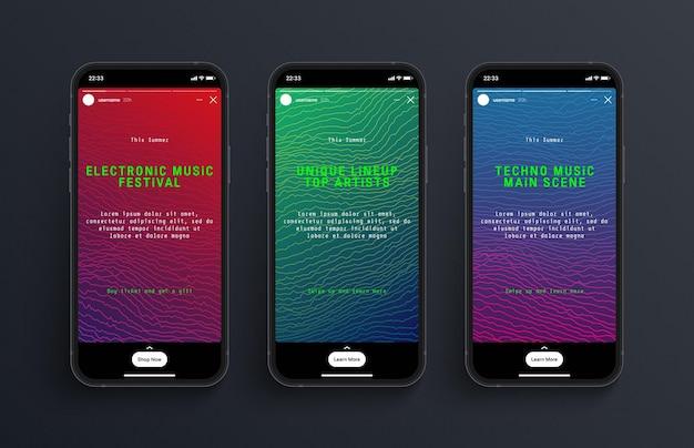 Modelo de design de carrossel de redes sociais de histórias do instagram na tela fotorrealística do smartphone
