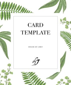 Modelo de design de cartão com moldura e padrão de vegetação no fundo branco.