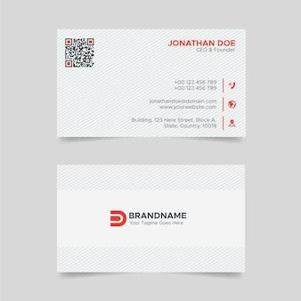 Modelo de design de cartão corporativo vermelho e branco em estilo minimalista profissional