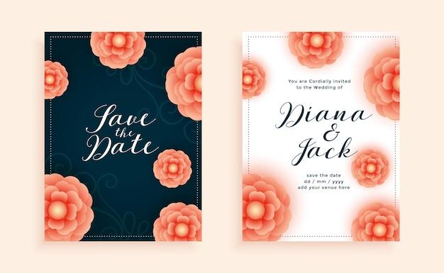 Modelo de design de cartão de casamento com lindas flores