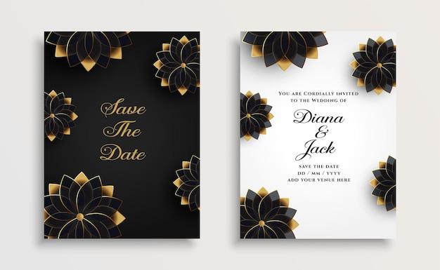 Modelo de design de cartão de casamento de flores douradas