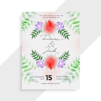 Modelo de design de cartão de casamento decorativo com flores elegantes