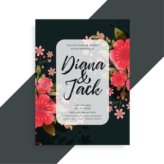 Modelo de design de cartão de casamento decorativo com lindas flores