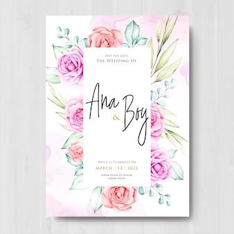Modelo de design de cartão de casamento floral lindo