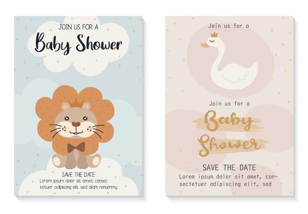 Modelo de design de cartão de convite bebê chuveiro.