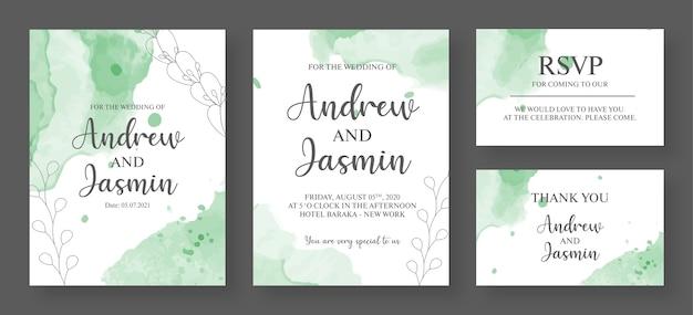 Modelo de design de cartão de convite de casamento colorido