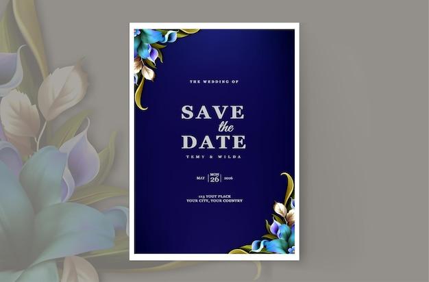 Modelo de design de cartão de convite de casamento de luxo