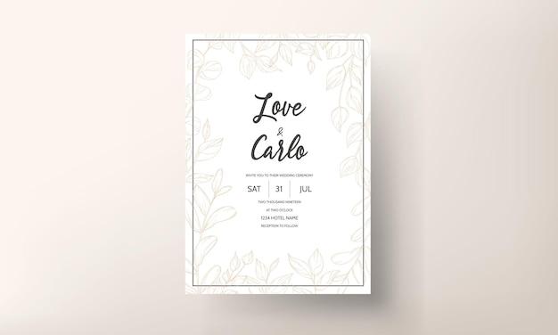 Modelo de design de cartão de convite de casamento em folha de ouro