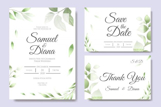 Modelo de design de cartão de convite de casamento lindo