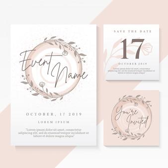 Modelo de design de cartão de convite de casamento vetor premium
