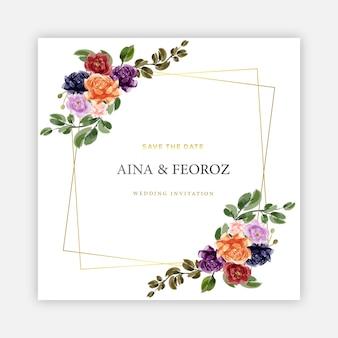 Modelo de design de cartão de convite de casamento