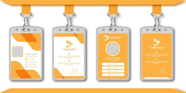 Modelo de design de cartão de identificação abstrato laranja