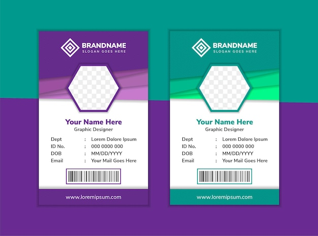 Modelo de design de cartão de identificação corporativa com espaço em hexágono para foto multicolorida em roxo e verde