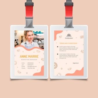 Modelo de design de cartão de identificação de brunch