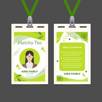 Modelo de design de cartão de identificação de chá matcha