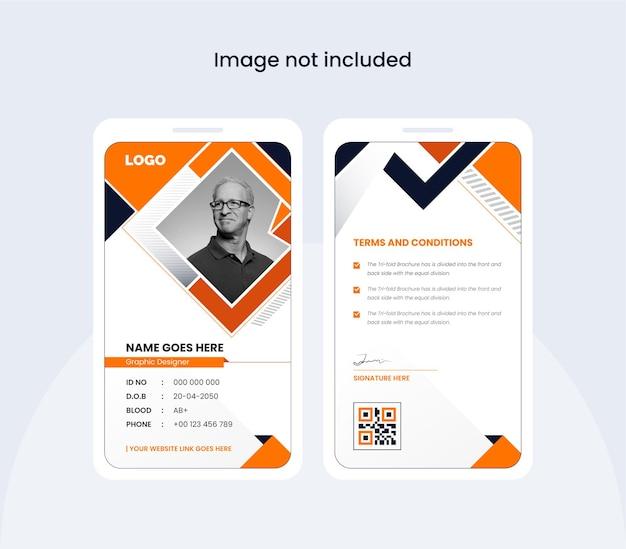 Modelo de design de cartão de identificação de escritório abstrato design colorido e criativo