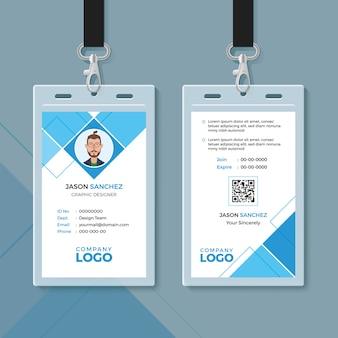 Modelo de design de cartão de identificação geométrica azul simples