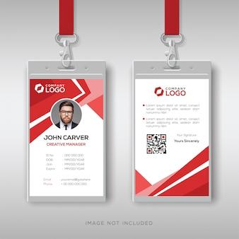 Modelo de design de cartão de identificação vermelho elegante
