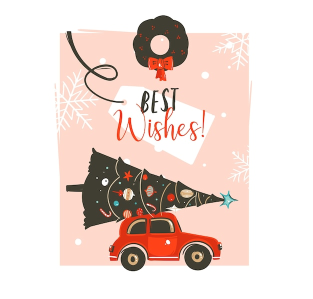 Modelo de design de cartão de ilustração gráfica de desenhos animados de tempo de feliz natal desenhado à mão com carro vermelho, árvore de natal, coroa de visco e tipografia moderna saudações isoladas
