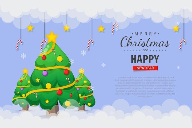Modelo de design de cartão de natal com árvore de natal