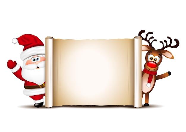 Modelo de design de cartão de natal. papai noel e suas renas.