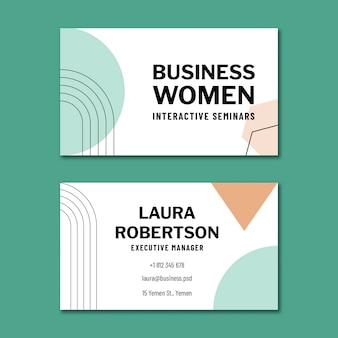 Modelo de design de cartão de negócios de dupla face horizontal para mulher de negócios