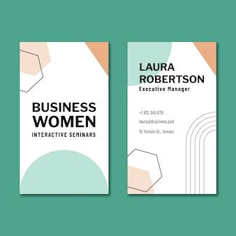 Modelo de design de cartão de negócios de dupla face vertical para empresária