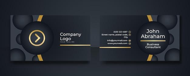 Modelo de design de cartão de negócios real luxuoso preto e dourado. modelo de design de cartão de visita moderno com linhas geométricas art déco douradas
