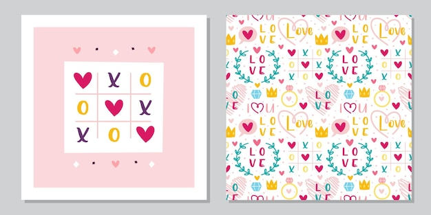 Modelo de design de cartão de são valentim. amor, coração, anel, coroa, jogo da velha. relacionamento, emoção, paixão.