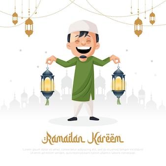 Modelo de design de cartão de saudação para o festival islâmico ramadan kareem