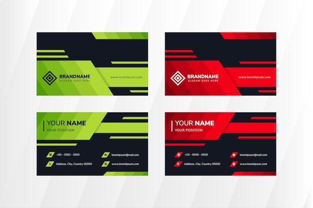 Modelo de design de cartão de visita abstrato com elementos verdes e vermelhos diagonais.
