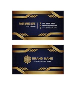 Modelo de design de cartão de visita abstrato usa fundo azul e gradiente de ouro no elemento. layout horizontal com padrões de pontos.