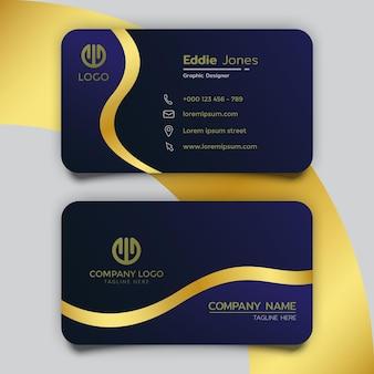 Modelo de design de cartão de visita azul escuro de luxo