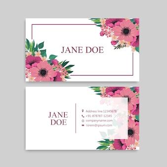 Modelo de design de cartão de visita bonito padrão floral cartão de visita