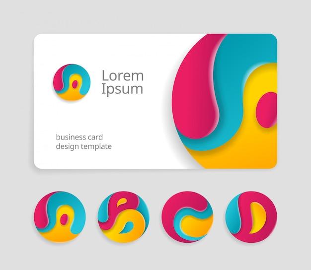 Modelo de design de cartão de visita com sinais abstratos arredondados