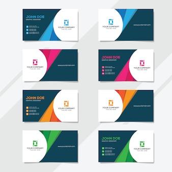 Modelo de design de cartão de visita corporativo com várias opções de cores