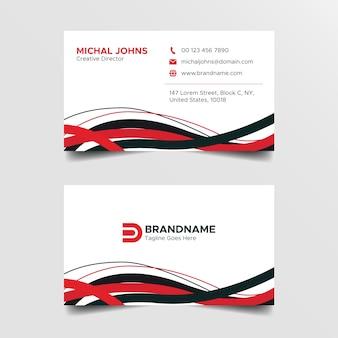 Modelo de design de cartão de visita criativo vermelho e branco