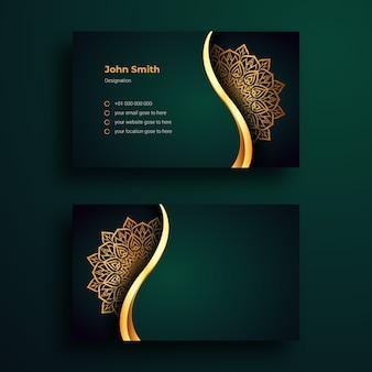 Modelo de design de cartão de visita de luxo com fundo de arabesco de mandala ornamental de luxo