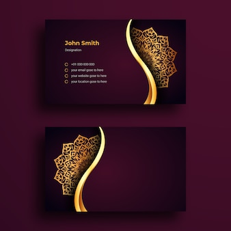 Modelo de design de cartão de visita de luxo com mandala ornamental de luxo