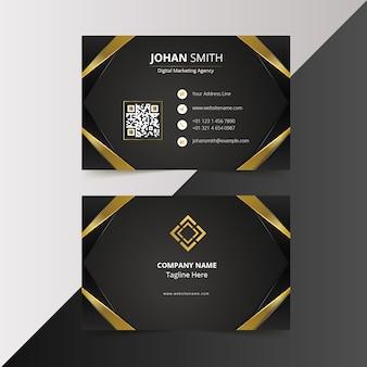 Modelo de design de cartão de visita elegante moderno preto dourado