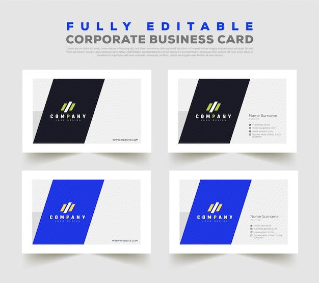 Modelo de design de cartão de visita frente e verso duplo