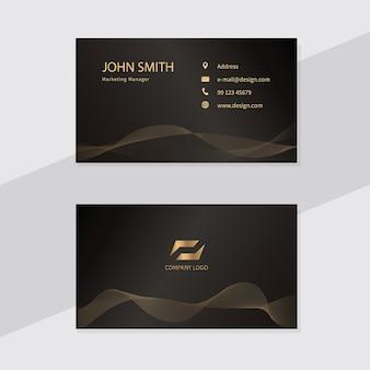 Modelo de design de cartão de visita. linhas douradas.