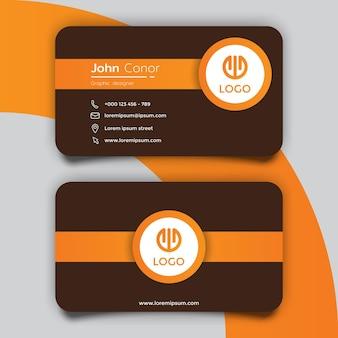 Modelo de design de cartão de visita marrom e amarelo