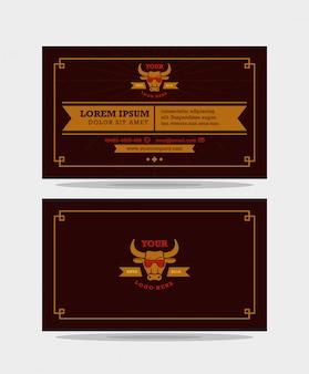 Modelo de design de cartão de visita marrom vintage vintage moderno pronto para impressão