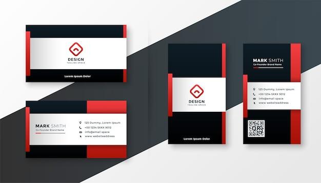 Modelo de design de cartão de visita moderno com tema de cor vermelha