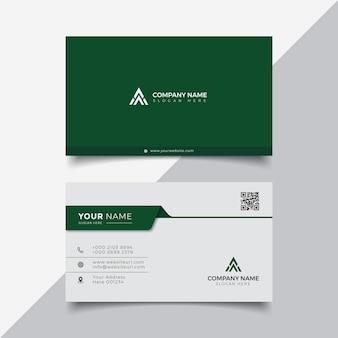 Modelo de design de cartão de visita moderno elegante profissional verde e branco
