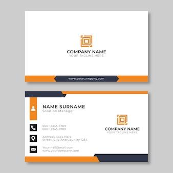 Modelo de design de cartão de visita plano laranja e preto