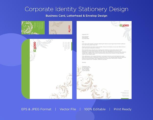 Modelo de design de cartão de visita profissional, papel timbrado e envelope