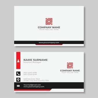 Modelo de design de cartão de visita profissional vermelho e preto